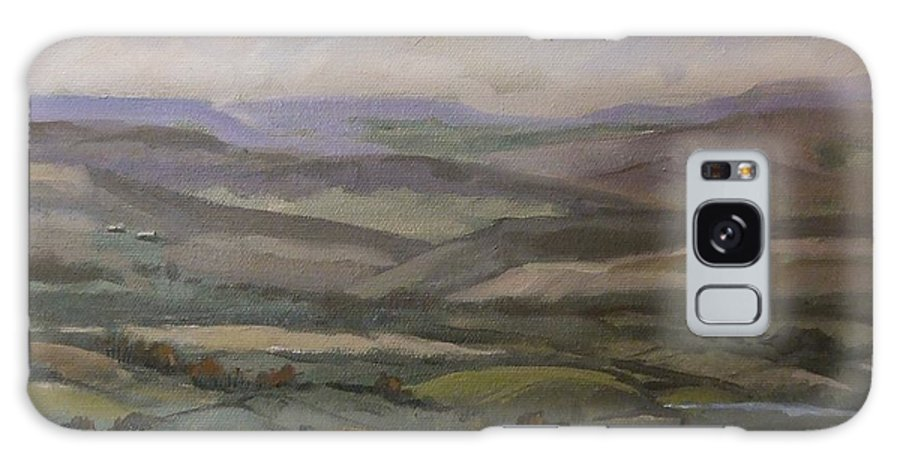 Landscape Water Trees Sky Hills Galaxy Case featuring the painting Yakima Vista by Ruth Stromswold