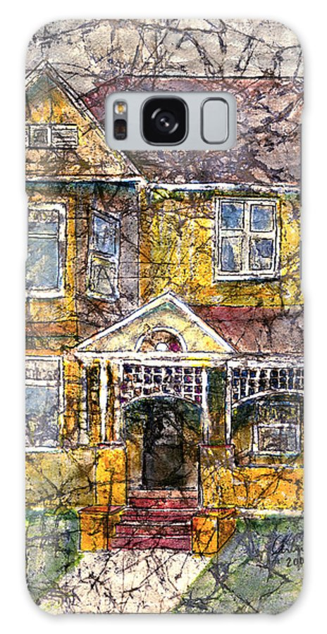 House Galaxy S8 Case featuring the mixed media Yellow Batik House by Arline Wagner