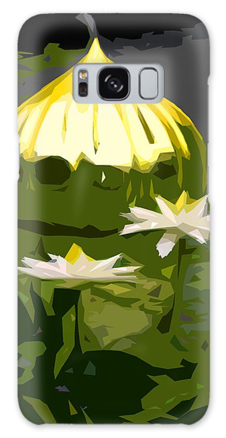 Water Lilies Galaxy S8 Case featuring the photograph Yellow Glass With White Lilies by John Lautermilch