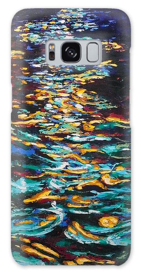 Landscape Galaxy S8 Case featuring the painting Yellow Light On Dark Water by Ericka Herazo