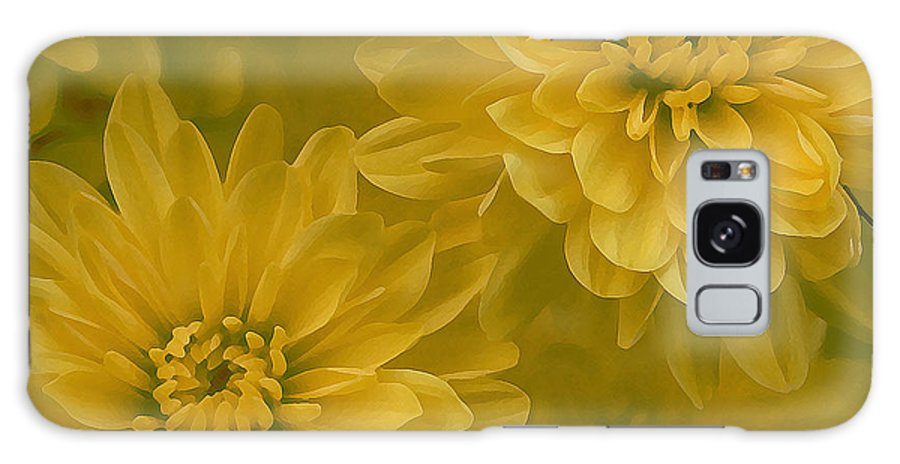 Yellow Mum Art Galaxy Case featuring the photograph Yellow Mums by Linda Sannuti