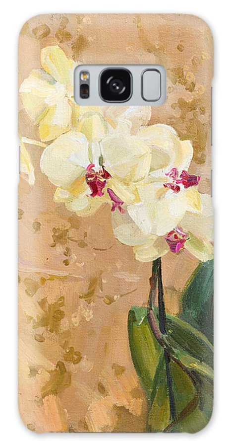 Flowers Galaxy S8 Case featuring the painting Yellow Orchid by Victoria Kharchenko