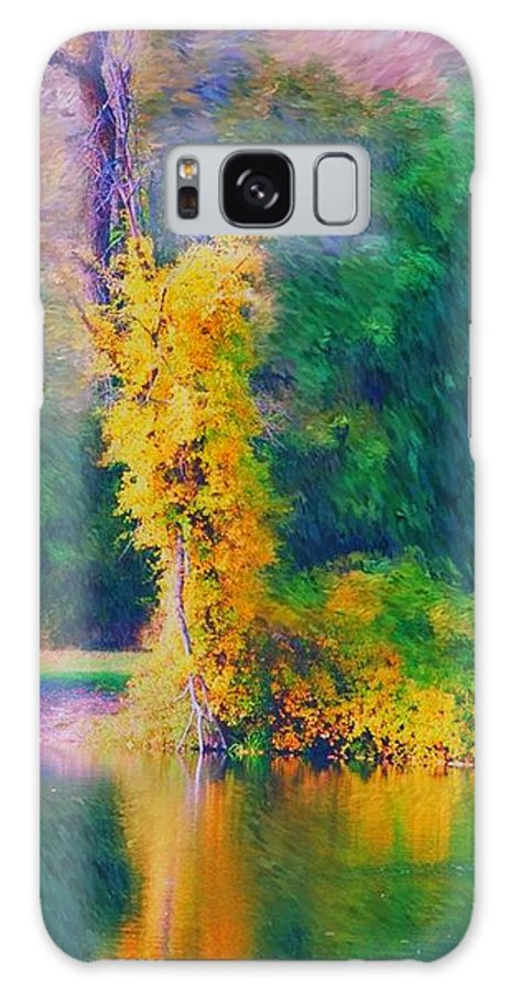 Digital Landscape Galaxy S8 Case featuring the digital art Yellow Reflections by David Lane