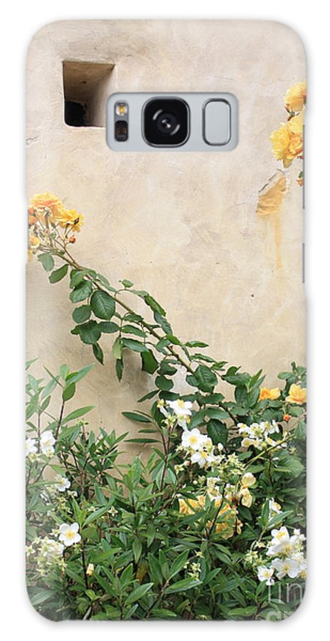 Yellow Roses Galaxy S8 Case featuring the photograph Yellow Roses And Tiny Window At Carmel Mission by Carol Groenen