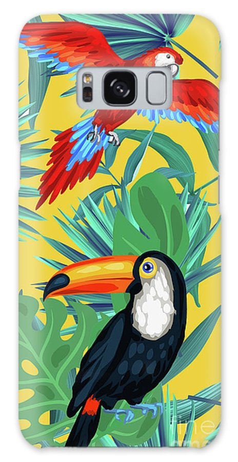 Parrot Galaxy Case featuring the digital art Yellow Tropic by Mark Ashkenazi