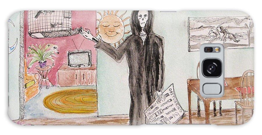 Bird Birdcage Darkestartist Death Home Humor Ink Watercolor Watercolour Darkest Artist Galaxy S8 Case featuring the painting Yesterdays News by Darkest Artist