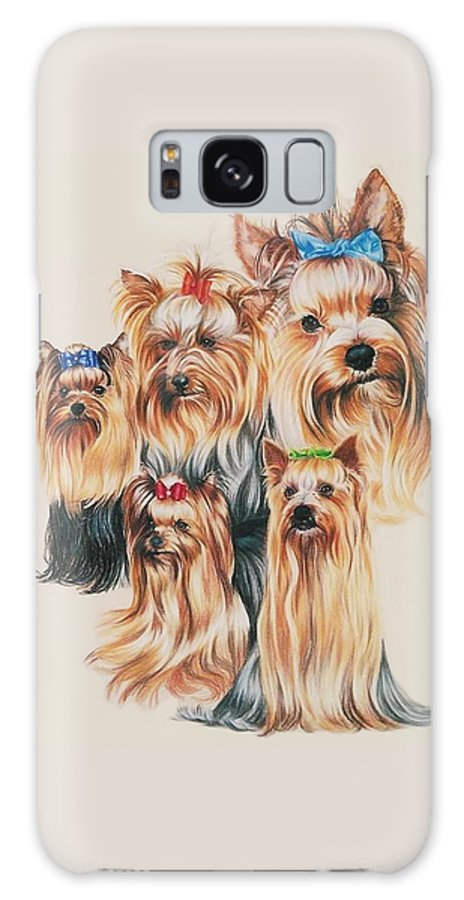 Purebred Galaxy S8 Case featuring the drawing Yorkshire Terrier by Barbara Keith