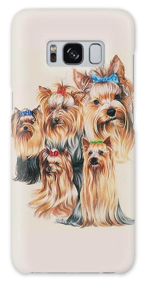 Purebred Galaxy Case featuring the drawing Yorkshire Terrier by Barbara Keith