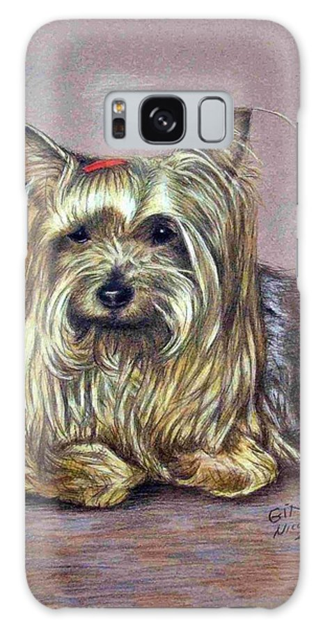 Dog Galaxy S8 Case featuring the drawing Yorkshire Terrier by Nicole Zeug