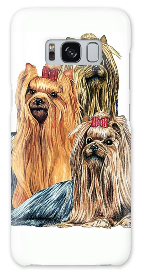 Yorkshire Terrier Galaxy S8 Case featuring the drawing Yorkshire Terriers by Kathleen Sepulveda