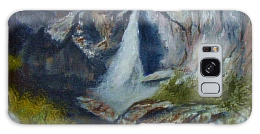 Waterfall Galaxy Case featuring the painting Yosemite Waterfall by Quwatha Valentine