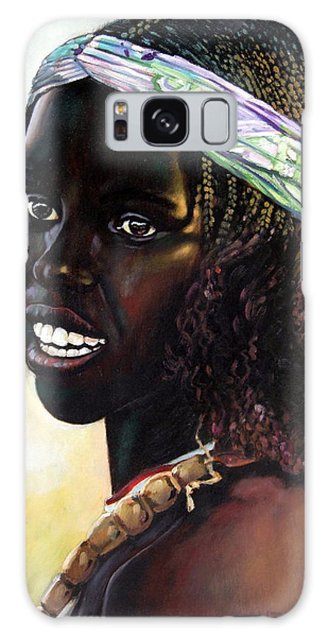 Young Black African Girl Galaxy S8 Case featuring the painting Young Black African Girl by John Lautermilch