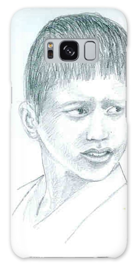 Galaxy S8 Case featuring the drawing Young Boy by Asha Sudhaker Shenoy