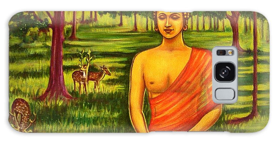 Young Galaxy S8 Case featuring the painting Young Buddha Meditating In The Forest by Usha Shantharam