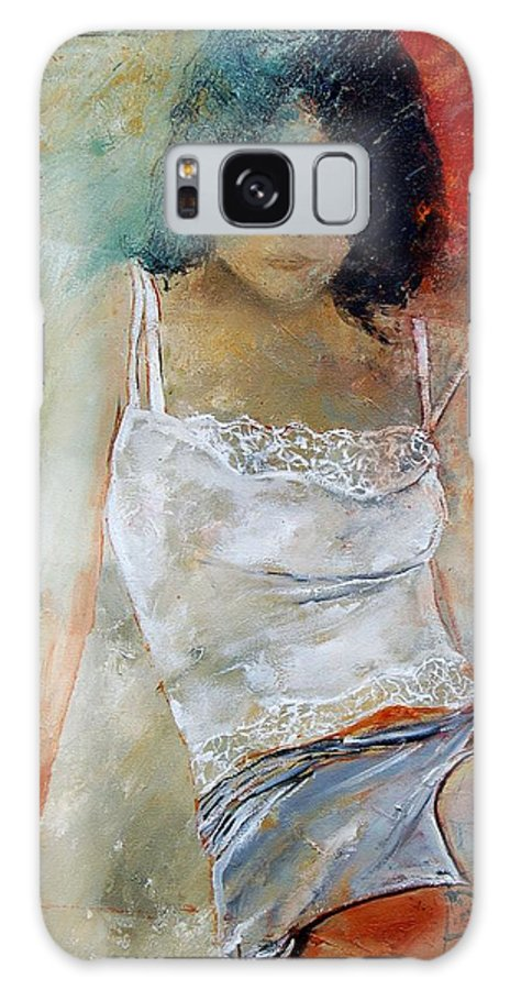 Nude Galaxy Case featuring the painting Young Girl Sitting by Pol Ledent