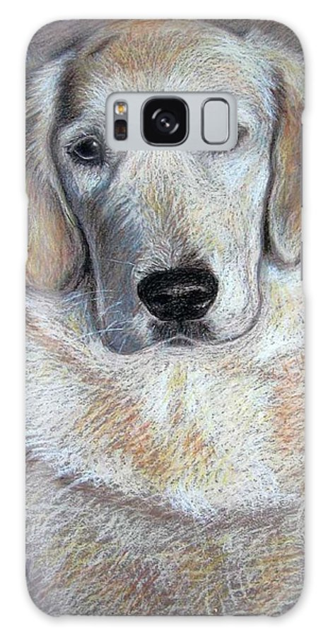 Dog Galaxy S8 Case featuring the pastel Young Golden Retriever by Nicole Zeug