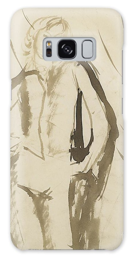 Amedeo Modigliani Galaxy S8 Case featuring the painting Young Man Standing Face by Celestial Images
