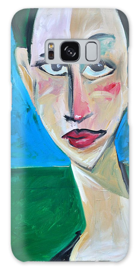 Woman Galaxy S8 Case featuring the painting Young Woman Green Field by Tim Nyberg