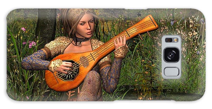 Fanast Galaxy Case featuring the digital art Young Women Playing The Lute by John Junek