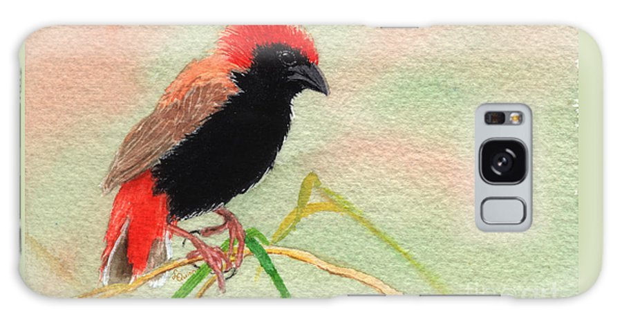Bird Galaxy S8 Case featuring the painting Zanzibar Red Bishop by Lynn Quinn