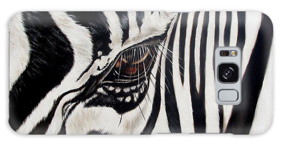 Zebra Galaxy Case featuring the painting Zebra Eye by Ilse Kleyn