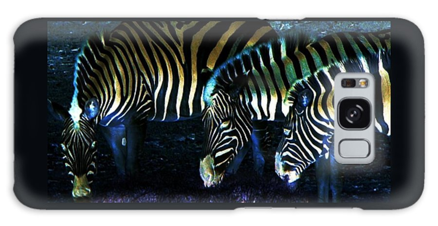 Zebra Galaxy Case featuring the digital art Zebras Glow by Kenna Westerman