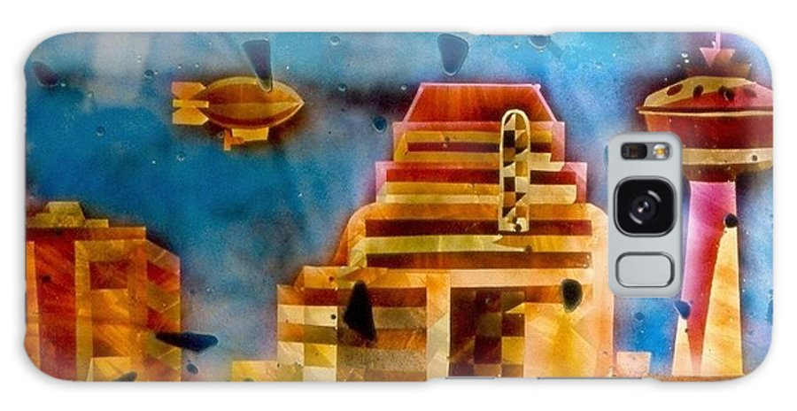 Landscape Galaxy Case featuring the painting Zepplins Detail by Rick Silas