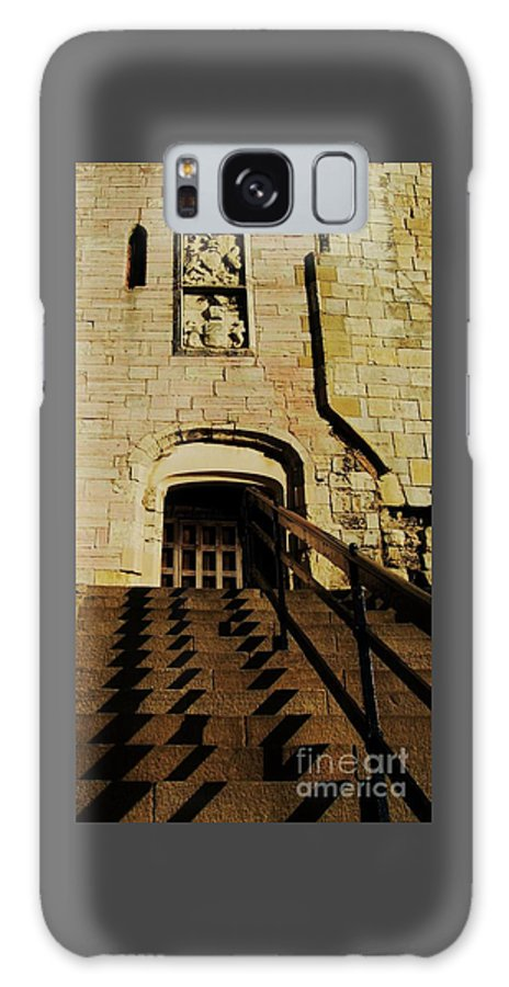 Art From York Historic Building Cliffords Tower Shadows Arch Medieval Frieze Steps Landmark Travel Vertical Vision Ancient Stones Tourism Destination Whimsy Wood Print Canvas Print Metal Frame Poster Print Available On Tote Bags Mugs Shower Curtains Phone Cases Spiral Notebooks Greeting Cards And T Shirts Galaxy S8 Case featuring the photograph Zig Zag Shadows At Clifford's Tower, York, England by Courtney Dagan