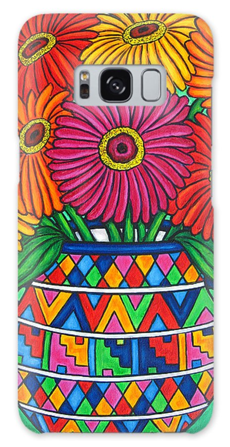 Zinnia Galaxy S8 Case featuring the painting Zinnia Fiesta by Lisa Lorenz