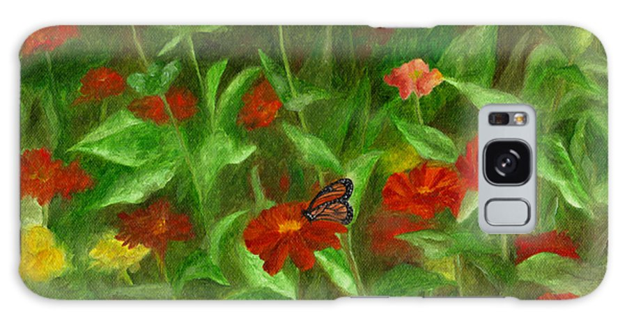 Butterfly Galaxy S8 Case featuring the painting Zinnias by FT McKinstry