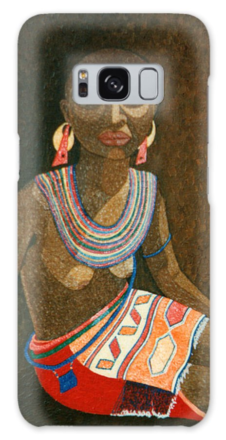 Zulu Woman Galaxy S8 Case featuring the painting Zulu Woman With Beads by Madalena Lobao-Tello