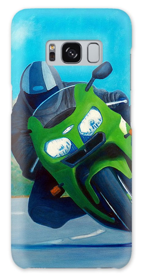 Motorcycle Galaxy Case featuring the painting Zx9 - California Dreaming by Brian Commerford
