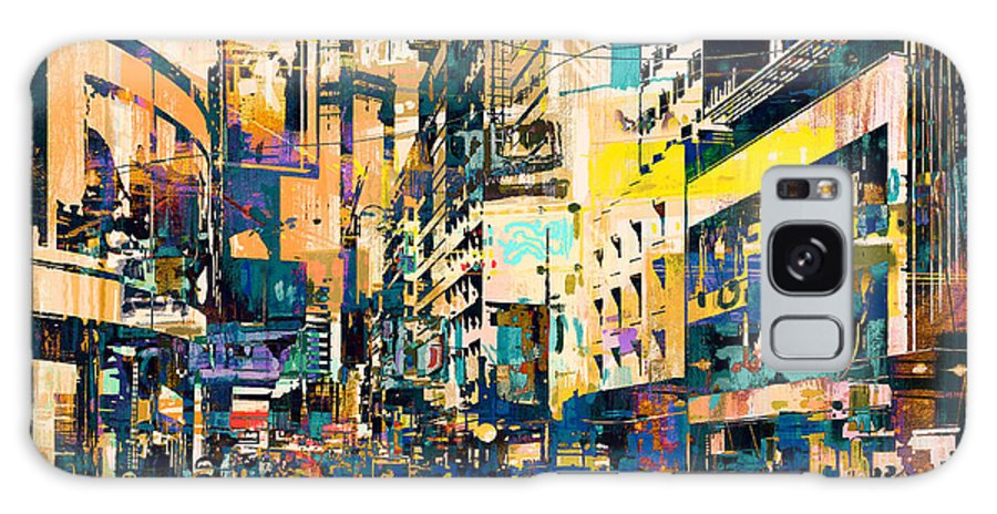 Artist Galaxy S8 Case featuring the digital art Abstract Art Of Cityscape,illustration by Tithi Luadthong