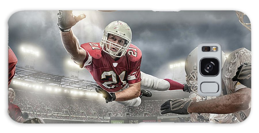 Soccer Uniform Galaxy Case featuring the photograph American Football Action by Peepo