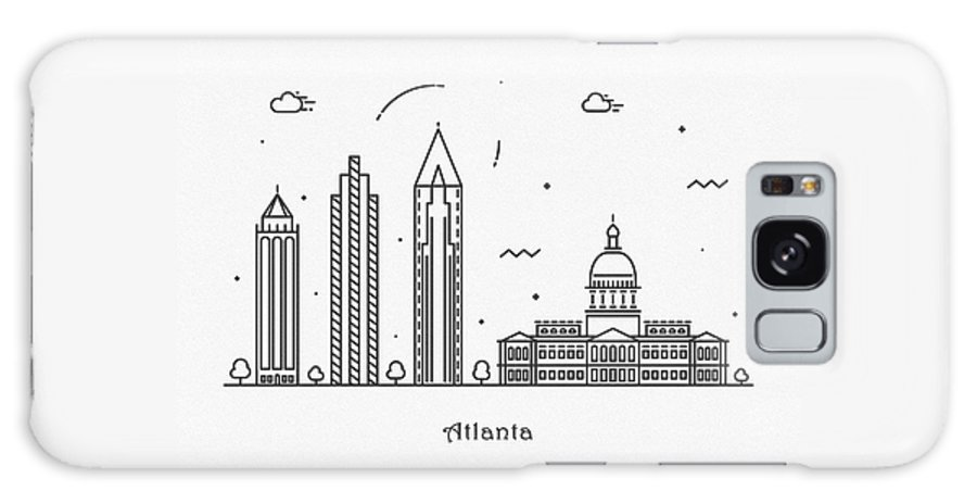 Atlanta Galaxy S8 Case featuring the drawing Astana Cityscape Travel Poster by Inspirowl Design