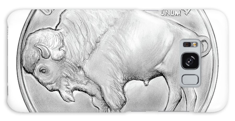 Buffalo Galaxy S8 Case featuring the drawing Buffalo Nickel by Greg Joens