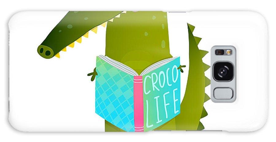 Crocodile Galaxy S8 Case featuring the digital art Childish Student Crocodile Reading Book by Popmarleo