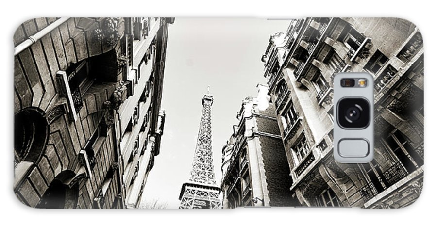 Built Structure Galaxy Case featuring the photograph Eiffel Tower Between Buildings In by Flory
