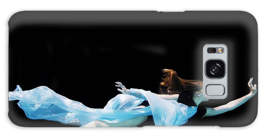 Ballet Dancer Galaxy Case featuring the photograph Female Dancer Underwater Against Black by Thomas Barwick