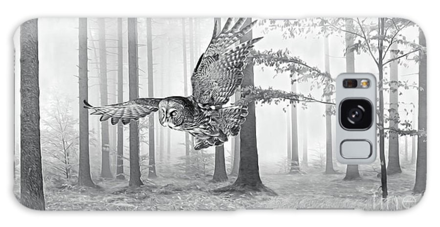 Great Grey Owl Galaxy S8 Case featuring the photograph Great Grey Owl Bw by Laura D Young