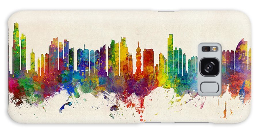 Panama City Galaxy S8 Case featuring the digital art Panama City Skyline by Michael Tompsett