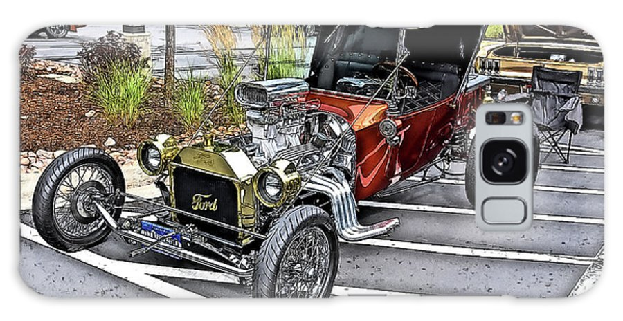 1917 Model T Ford T Bucket Custom Vintage Auto Automobile Galaxy Case featuring the drawing 1917 Model T Ford T Bucket Custom by Jonathan Broyles