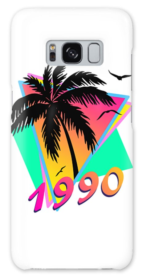 This Cool Design Features Classic Vintage 80s Style Summer Sunset Pop Art Inspired By Retro Vhs Tapes Of Famous Tv Shows And Movie Posters. A Palm Tree By The Ocean And Seagulls In Front Of The Glow Of The Sun. This Colorful Print In Yellow Galaxy S8 Case featuring the digital art 1990 Cool Tropical Sunset by Filip Hellman