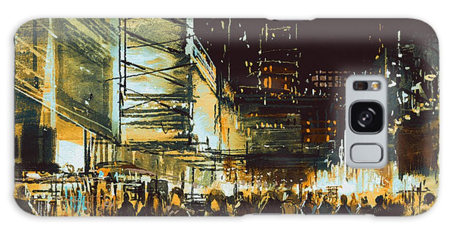 Shop Galaxy S8 Case featuring the digital art Painting Of Shopping Street City With 3 by Tithi Luadthong