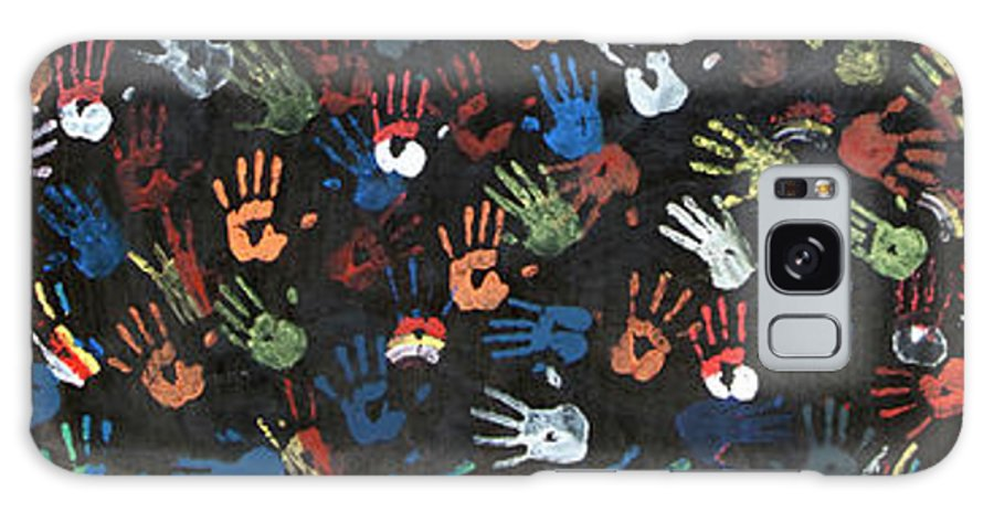 Child Galaxy Case featuring the photograph A Painting Of Colorful Handprints by Khananastasia