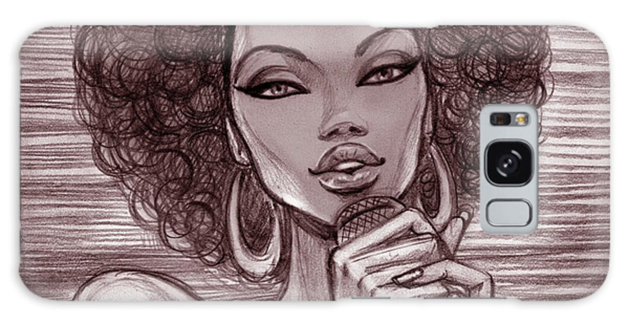 Singer Galaxy Case featuring the digital art A Pencil Sketch Of A Female Singer With by Tatarnikova
