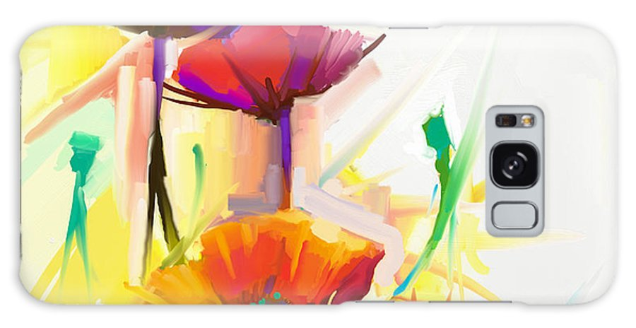 Fragrances Galaxy Case featuring the digital art Abstract Oil Painting Of Spring Flower by Pluie r