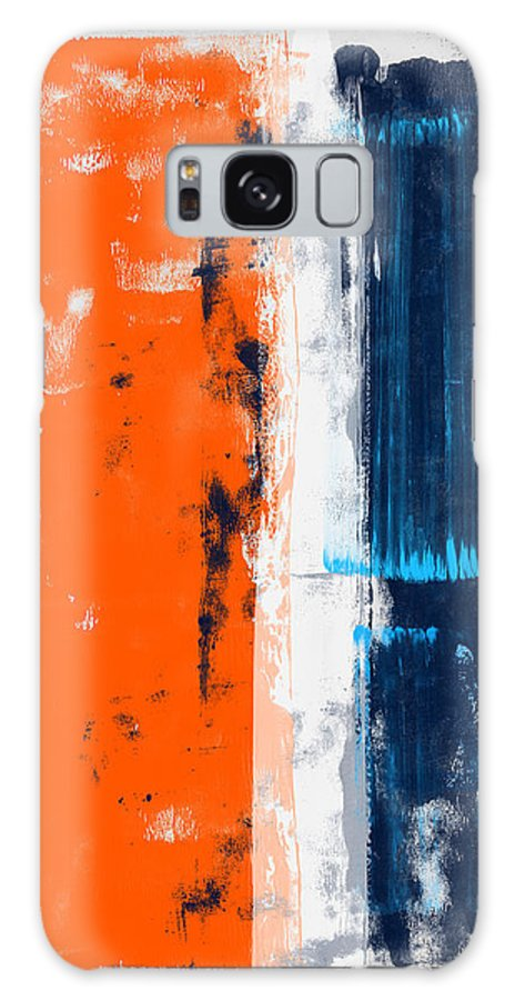 Abstract Galaxy Case featuring the painting Abstract Orange And Blue Study by Naxart Studio