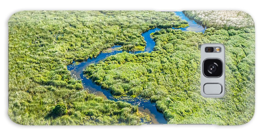 Southern Galaxy Case featuring the photograph Aerial View Of A Small Stream And Lush by Efimova Anna