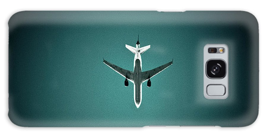 Outdoors Galaxy Case featuring the photograph Airplane Silhouette by Miikka S Luotio